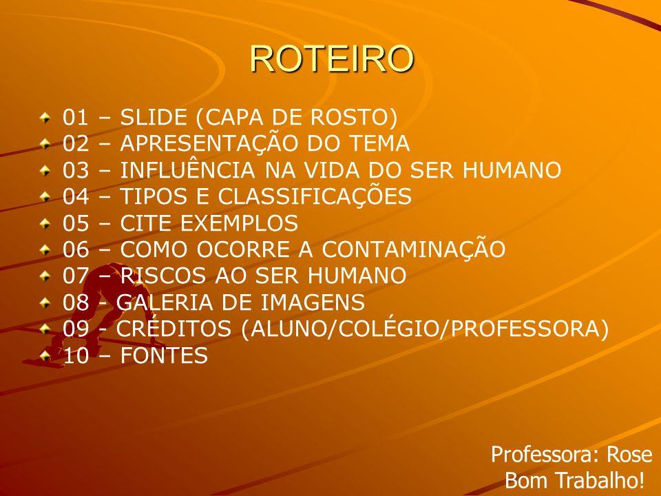 ROTEIRO 01 – SLIDE (CAPA DE ROSTO) 02 – APRESENTAÇÃO DO TEMA