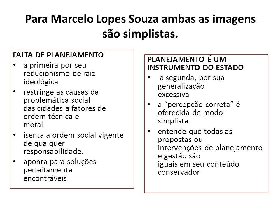 Para Marcelo Lopes Souza ambas as imagens são simplistas.