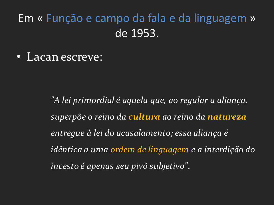Em « Função e campo da fala e da linguagem » de 1953.