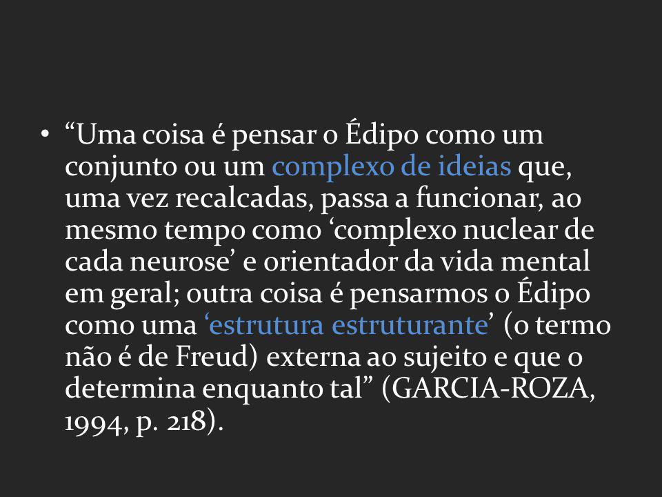 Uma coisa é pensar o Édipo como um conjunto ou um complexo de ideias que, uma vez recalcadas, passa a funcionar, ao mesmo tempo como 'complexo nuclear de cada neurose' e orientador da vida mental em geral; outra coisa é pensarmos o Édipo como uma 'estrutura estruturante' (o termo não é de Freud) externa ao sujeito e que o determina enquanto tal (GARCIA-ROZA, 1994, p.
