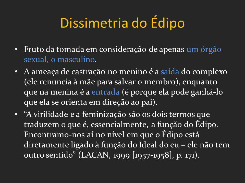 Dissimetria do Édipo Fruto da tomada em consideração de apenas um órgão sexual, o masculino.