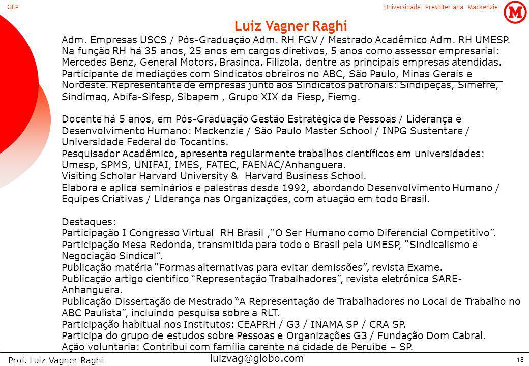 Luiz Vagner Raghi Adm. Empresas USCS / Pós-Graduação Adm. RH FGV / Mestrado Acadêmico Adm. RH UMESP.