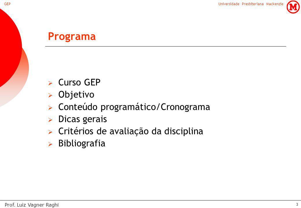 Programa Curso GEP Objetivo Conteúdo programático/Cronograma