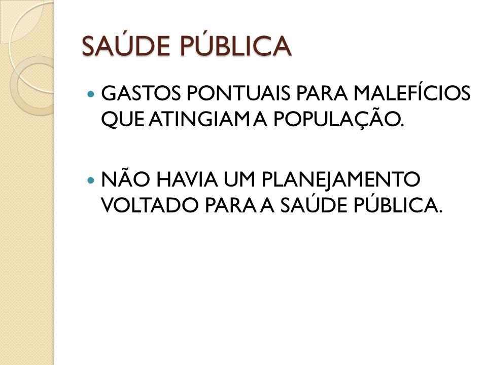 SAÚDE PÚBLICA GASTOS PONTUAIS PARA MALEFÍCIOS QUE ATINGIAM A POPULAÇÃO.