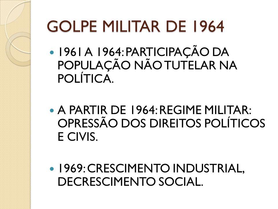 GOLPE MILITAR DE 1964 1961 A 1964: PARTICIPAÇÃO DA POPULAÇÃO NÃO TUTELAR NA POLÍTICA.