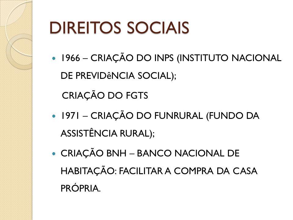 DIREITOS SOCIAIS 1966 – CRIAÇÃO DO INPS (INSTITUTO NACIONAL DE PREVIDêNCIA SOCIAL); CRIAÇÃO DO FGTS.