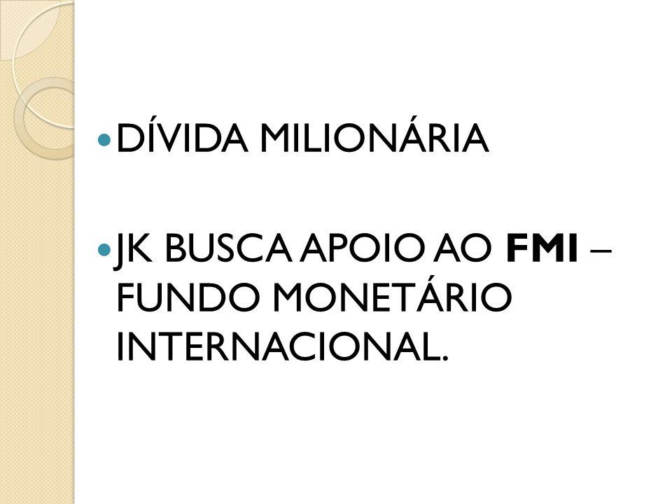 DÍVIDA MILIONÁRIA JK BUSCA APOIO AO FMI – FUNDO MONETÁRIO INTERNACIONAL.