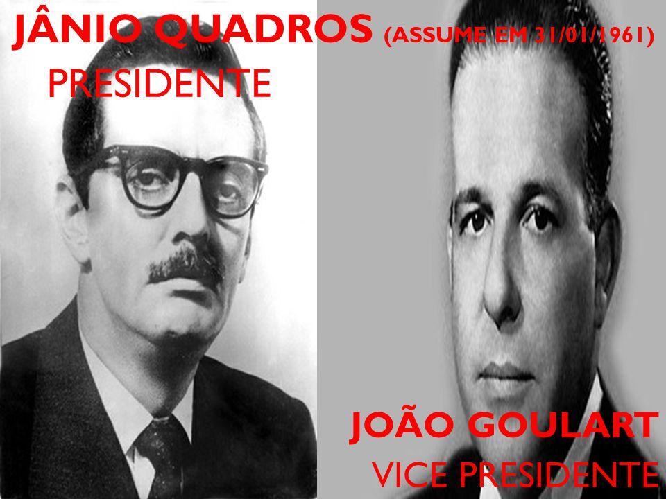 JÂNIO QUADROS (ASSUME EM 31/01/1961) PRESIDENTE