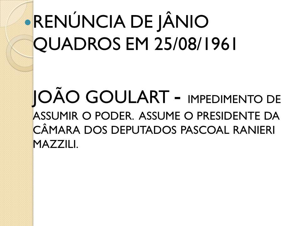 RENÚNCIA DE JÂNIO QUADROS EM 25/08/1961