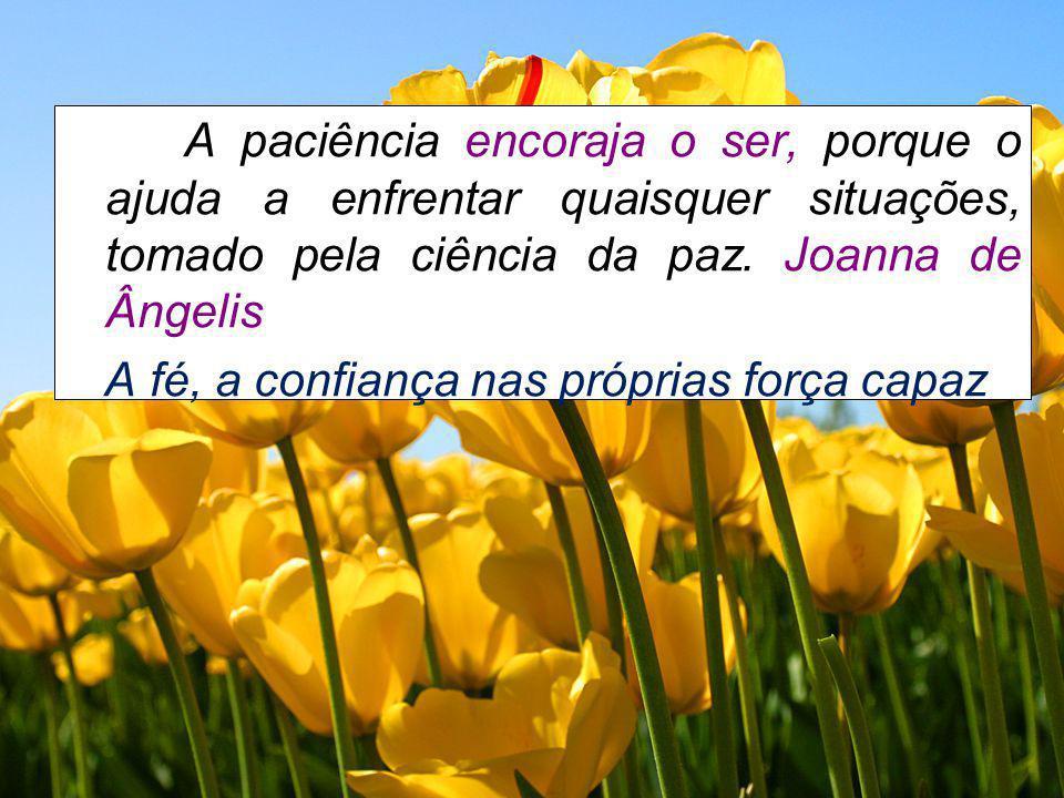 A paciência encoraja o ser, porque o ajuda a enfrentar quaisquer situações, tomado pela ciência da paz. Joanna de Ângelis