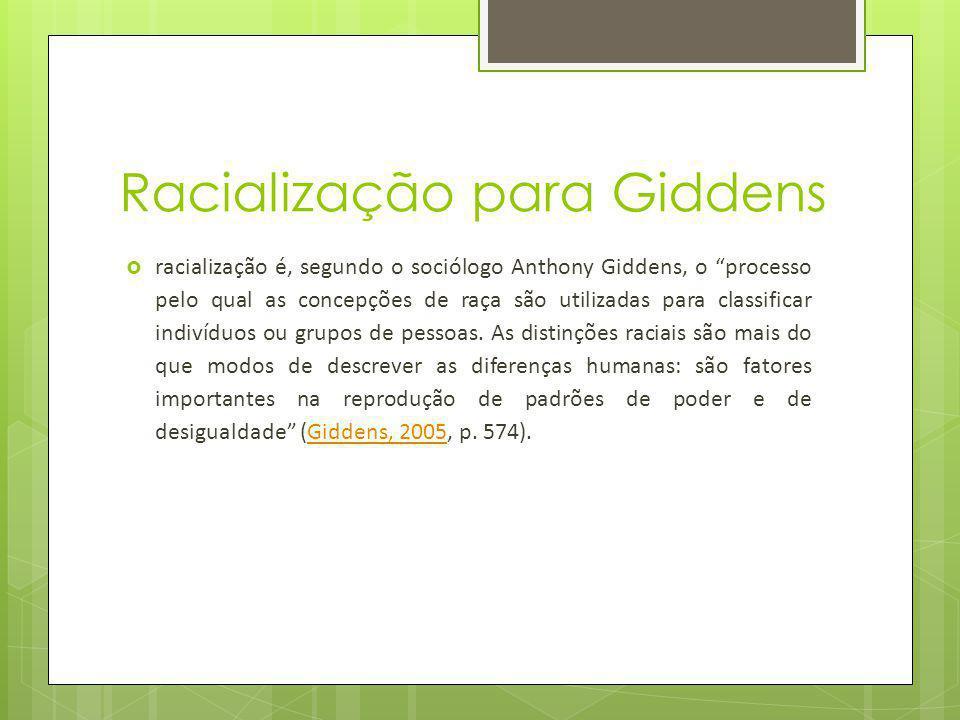 Racialização para Giddens