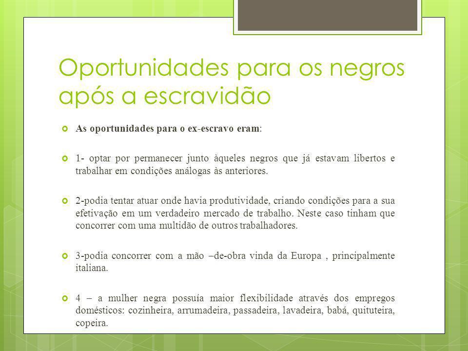Oportunidades para os negros após a escravidão