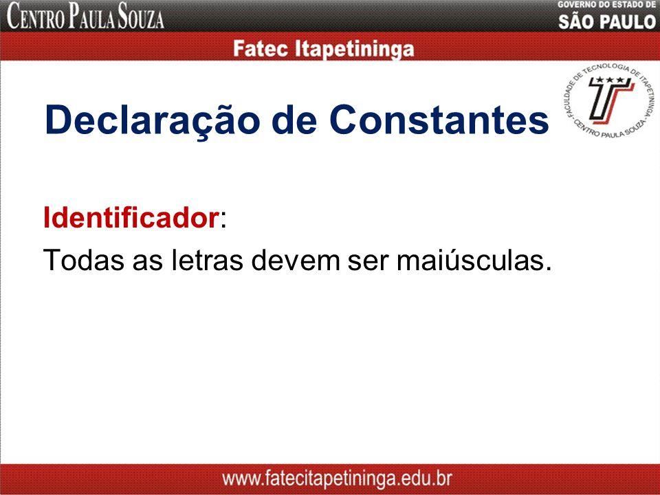 Declaração de Constantes