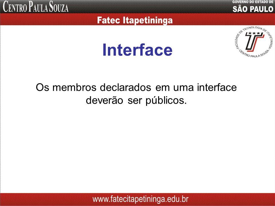 Os membros declarados em uma interface deverão ser públicos.