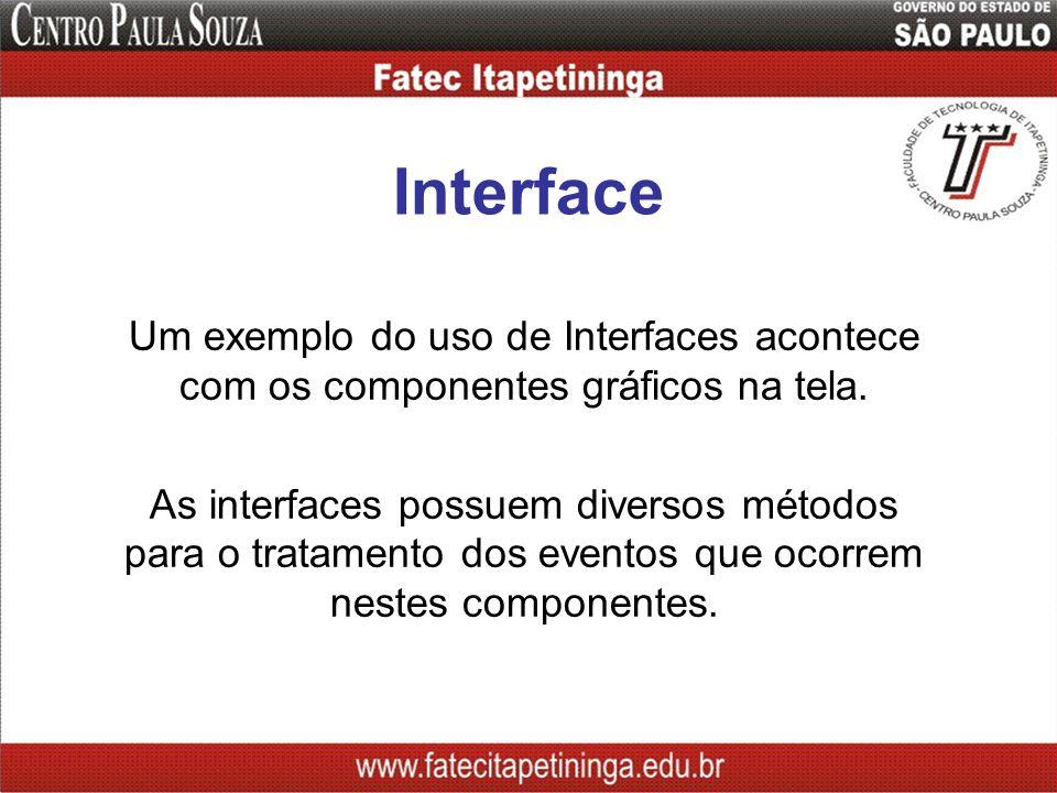 Interface Um exemplo do uso de Interfaces acontece com os componentes gráficos na tela.