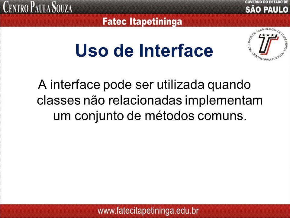 Uso de Interface A interface pode ser utilizada quando classes não relacionadas implementam um conjunto de métodos comuns.