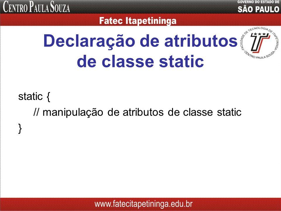 Declaração de atributos de classe static