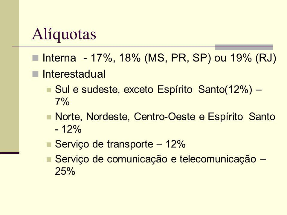 Alíquotas Interna - 17%, 18% (MS, PR, SP) ou 19% (RJ) Interestadual