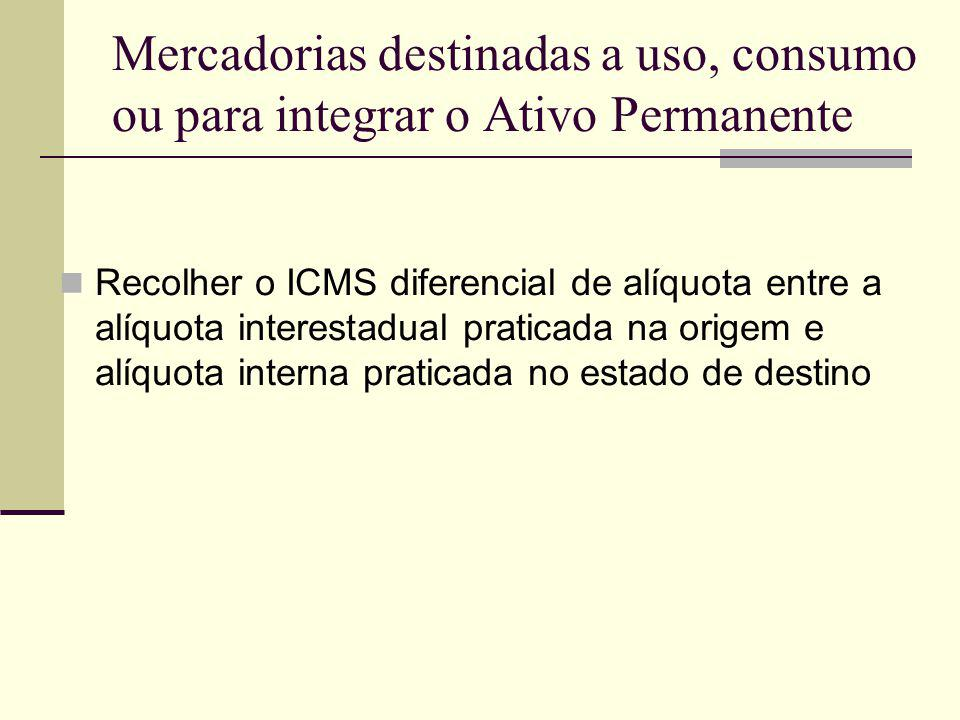 Mercadorias destinadas a uso, consumo ou para integrar o Ativo Permanente