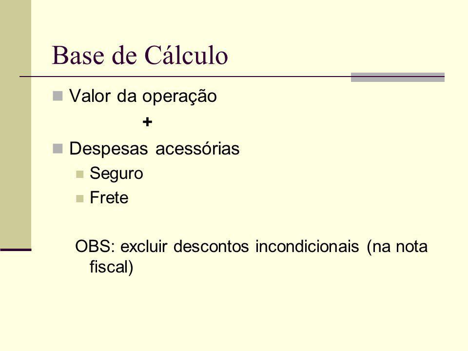 Base de Cálculo Valor da operação + Despesas acessórias Seguro Frete