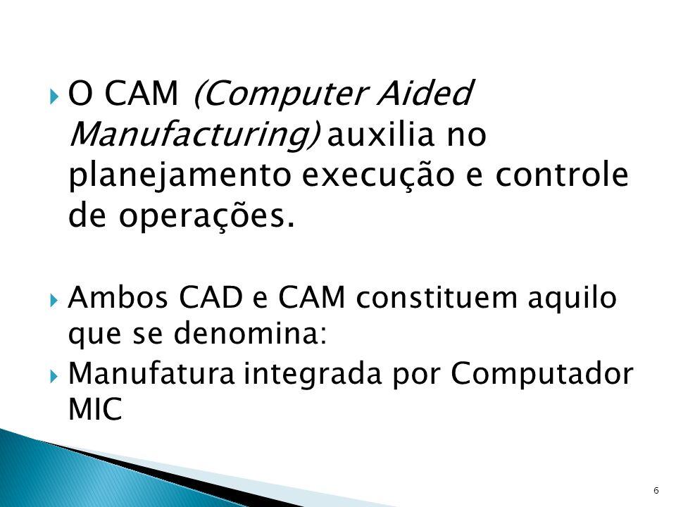 O CAM (Computer Aided Manufacturing) auxilia no planejamento execução e controle de operações.