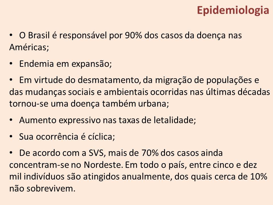 Epidemiologia O Brasil é responsável por 90% dos casos da doença nas Américas; Endemia em expansão;