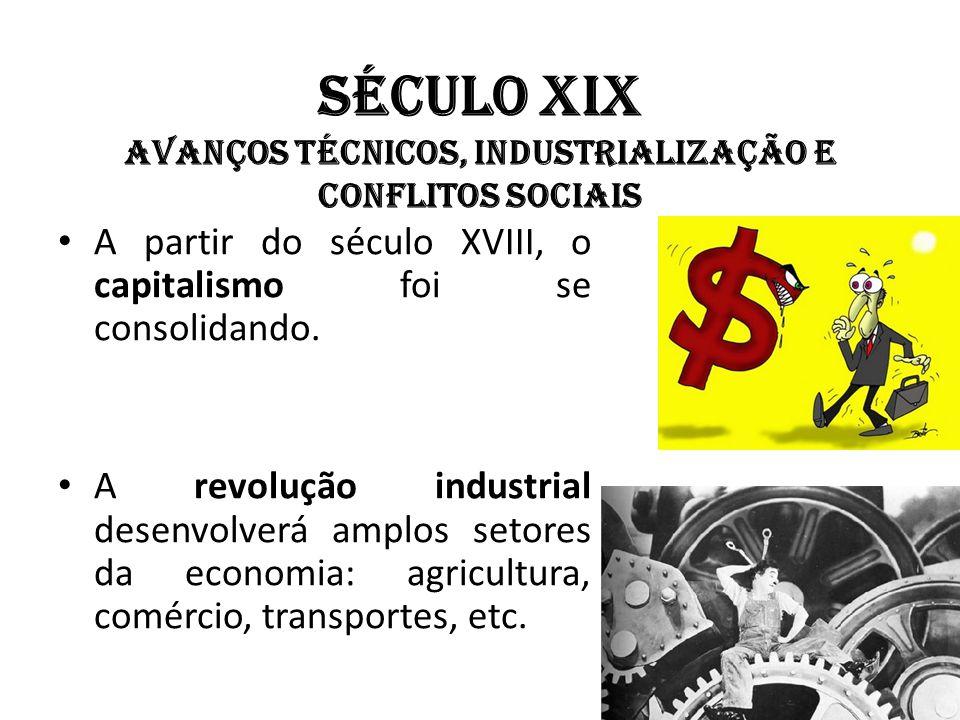 Século XIX Avanços técnicos, industrialização e conflitos sociais