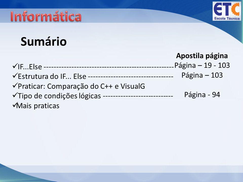 Informática Sumário Apostila página Página – 19 - 103 Página – 103