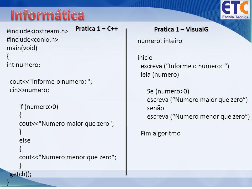 Informática Pratica 1 – C++ Pratica 1 – VisualG