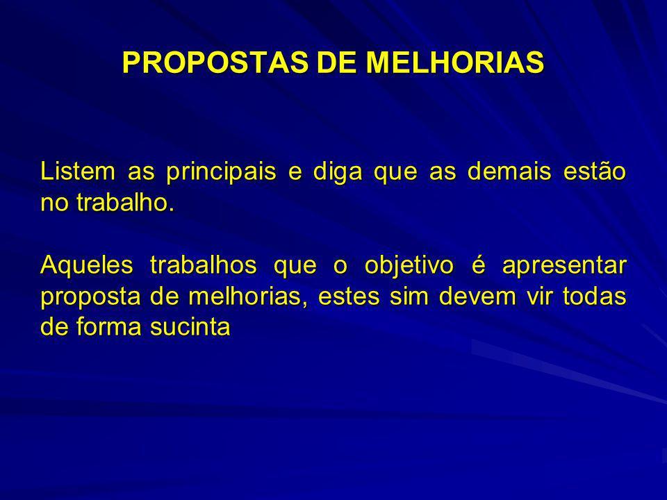 PROPOSTAS DE MELHORIAS