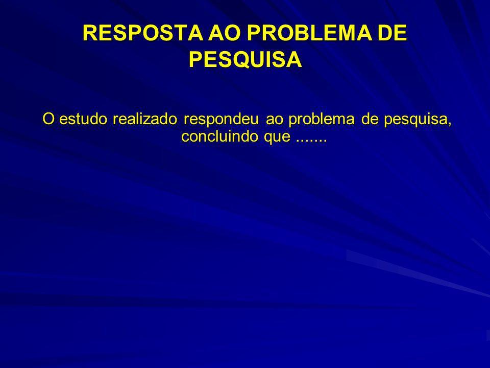 RESPOSTA AO PROBLEMA DE PESQUISA