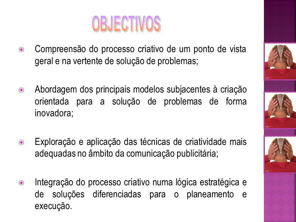 OBJECTIVOS Compreensão do processo criativo de um ponto de vista geral e na vertente de solução de problemas;