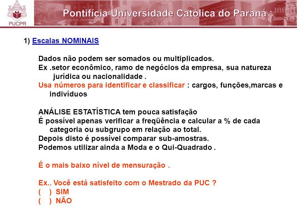 1) Escalas NOMINAIS Dados não podem ser somados ou multiplicados.