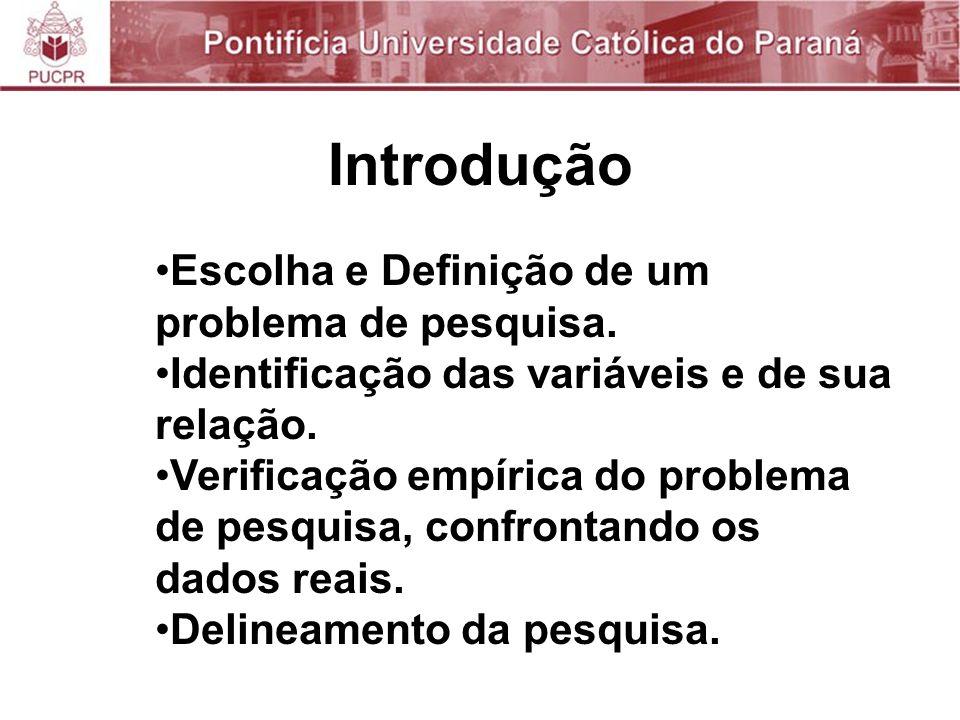 Introdução Escolha e Definição de um problema de pesquisa.