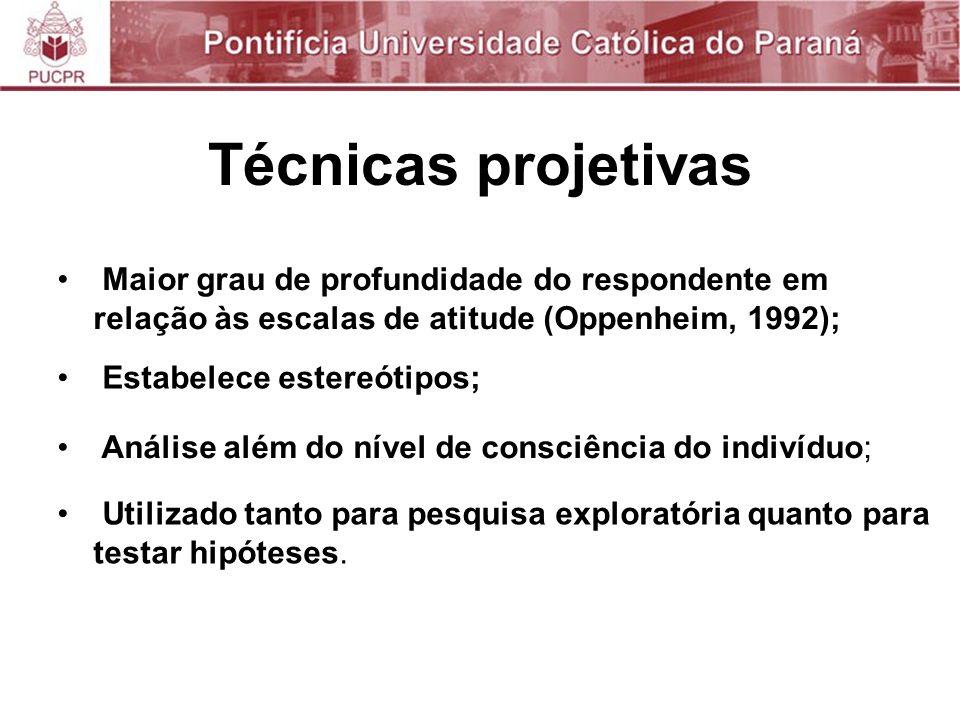 Técnicas projetivas Maior grau de profundidade do respondente em relação às escalas de atitude (Oppenheim, 1992);