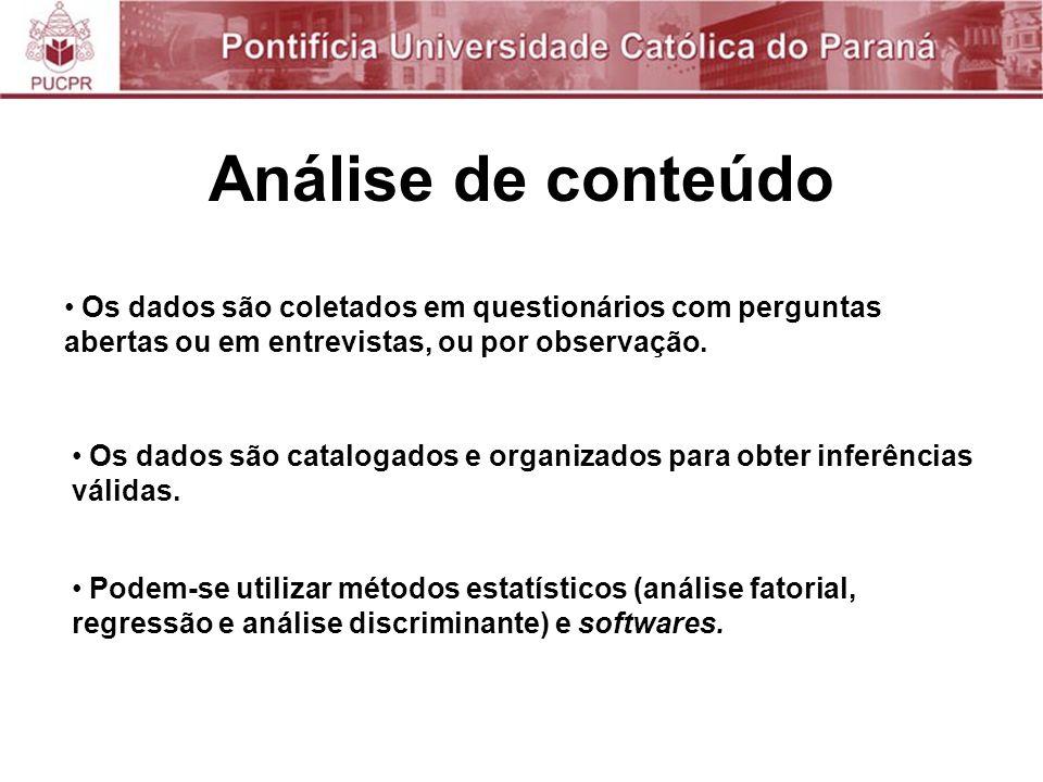 Análise de conteúdo Os dados são coletados em questionários com perguntas abertas ou em entrevistas, ou por observação.
