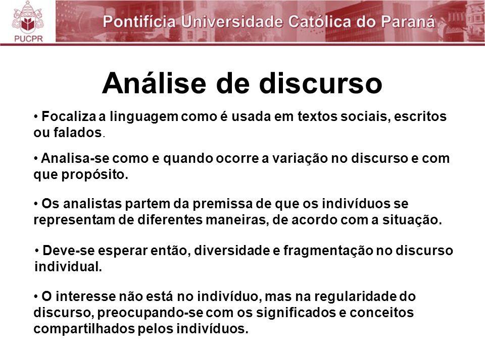 Análise de discurso Focaliza a linguagem como é usada em textos sociais, escritos ou falados.