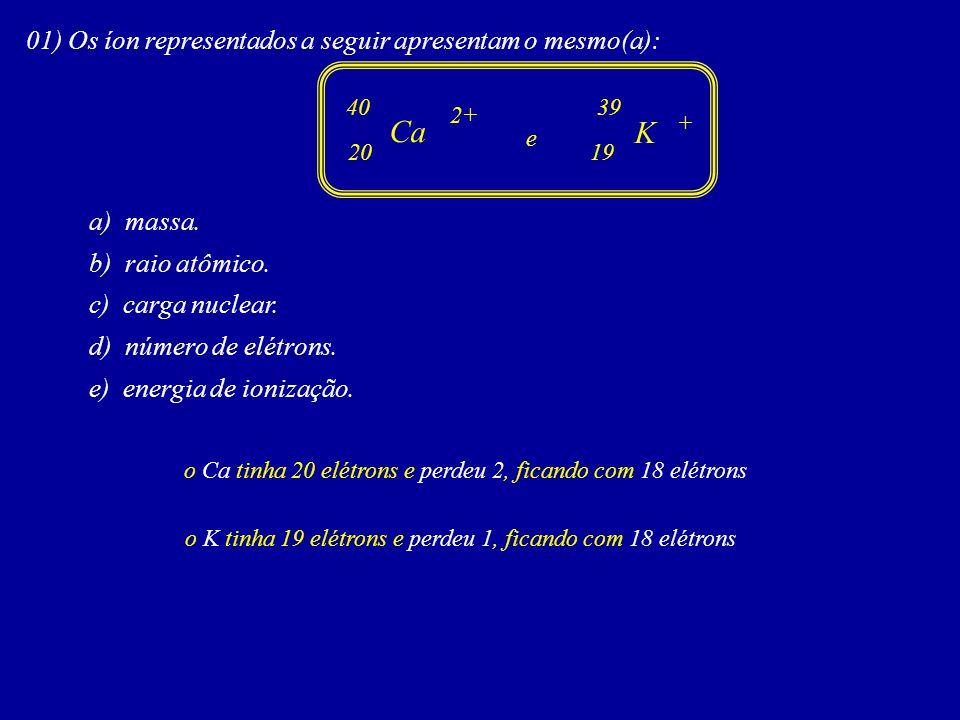 Ca K 01) Os íon representados a seguir apresentam o mesmo(a):