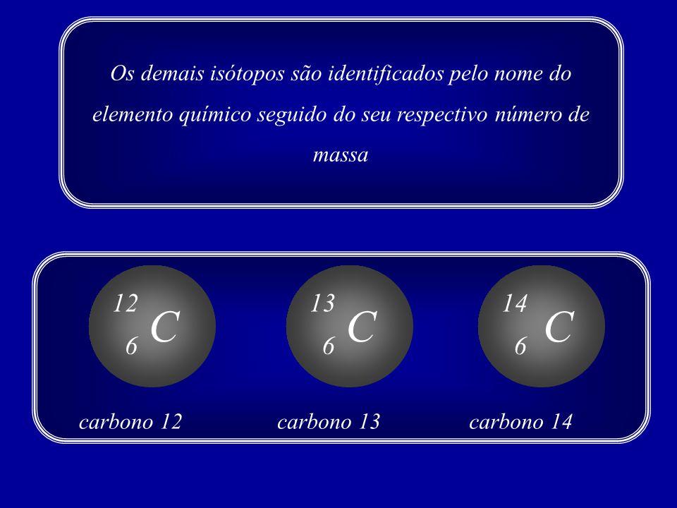 Os demais isótopos são identificados pelo nome do elemento químico seguido do seu respectivo número de massa