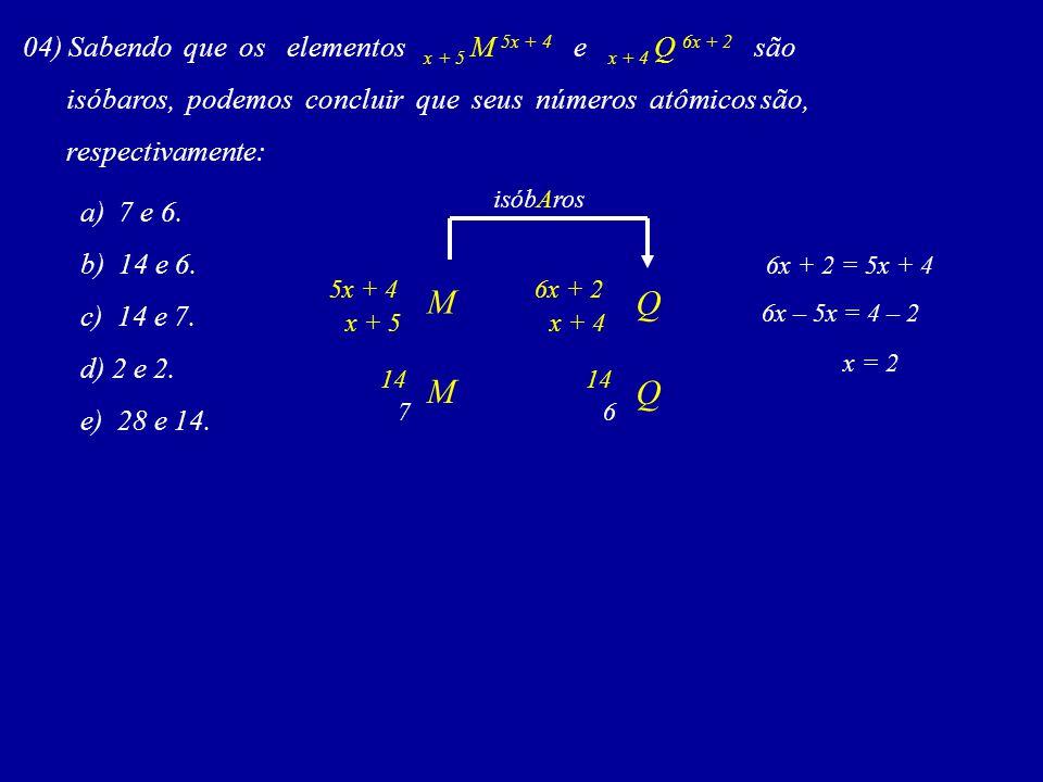 04) Sabendo que os elementos x + 5 M 5x + 4 e x + 4 Q 6x + 2 são