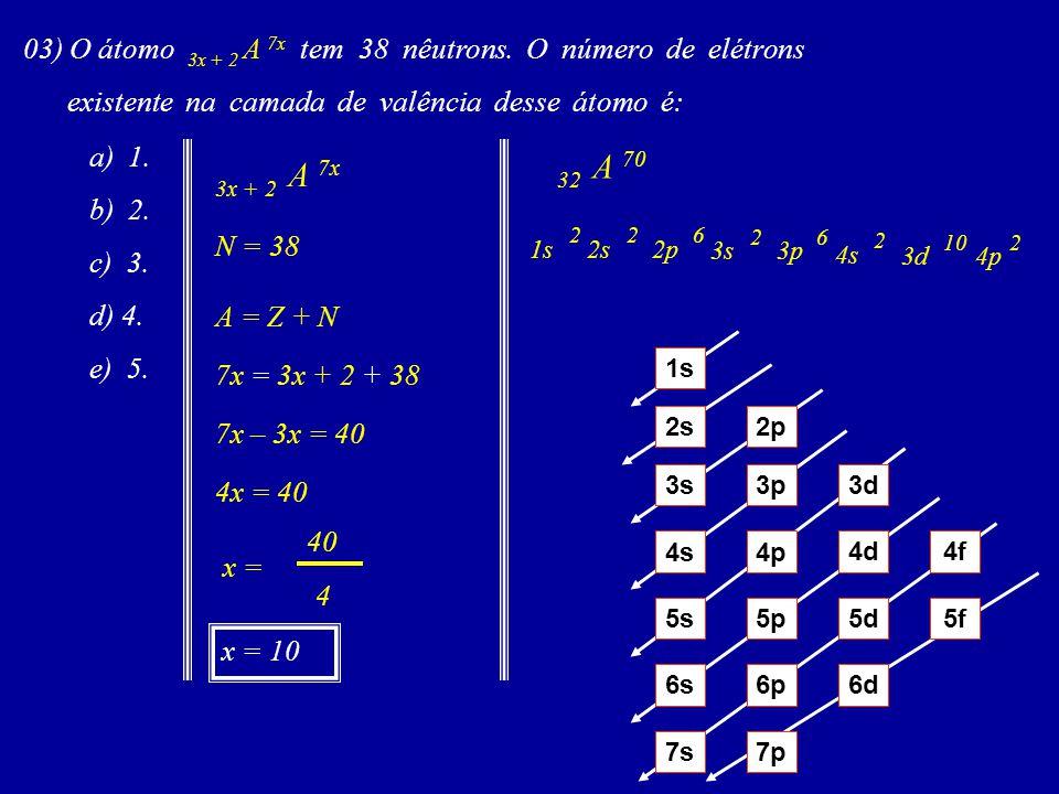 03) O átomo 3x + 2 A 7x tem 38 nêutrons. O número de elétrons