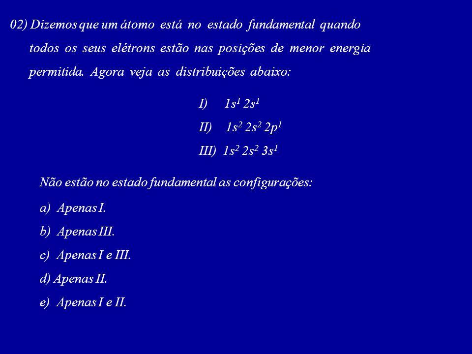 02) Dizemos que um átomo está no estado fundamental quando