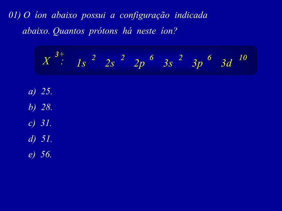 X : 1s 2s 2p 3s 3p 3d 01) O íon abaixo possui a configuração indicada