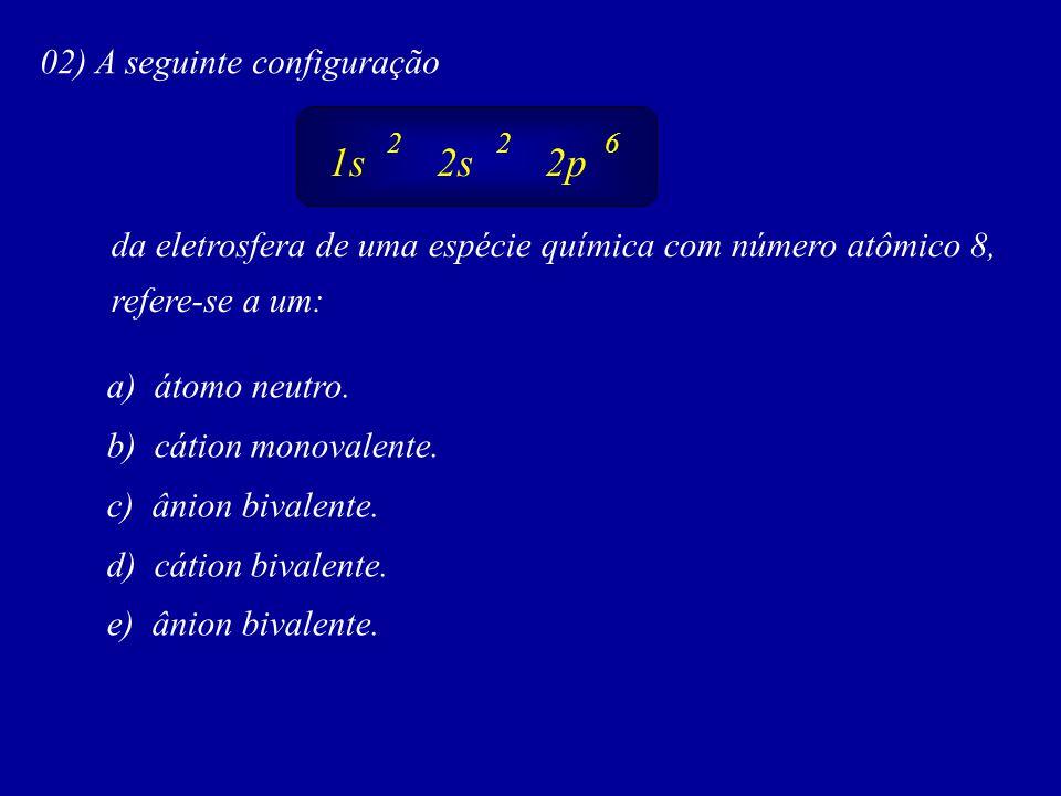 1s 2s 2p 02) A seguinte configuração