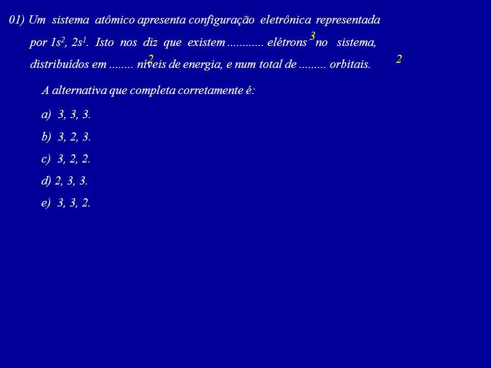 01) Um sistema atômico apresenta configuração eletrônica representada