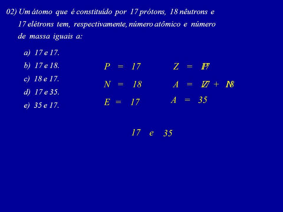 02) Um átomo que é constituído por 17 prótons, 18 nêutrons e