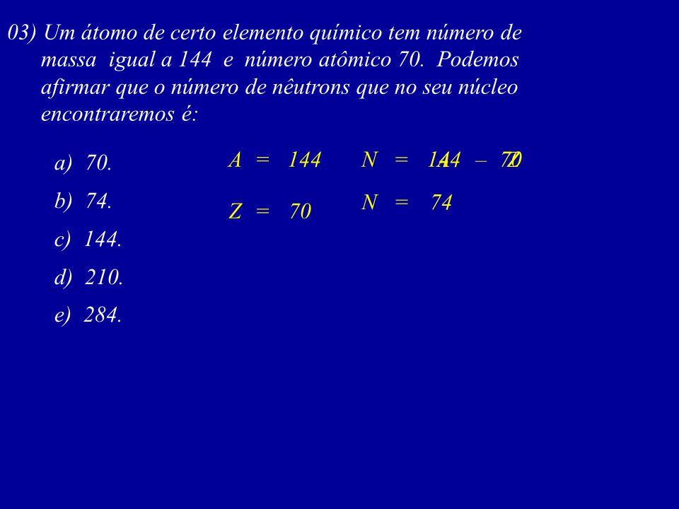 03) Um átomo de certo elemento químico tem número de