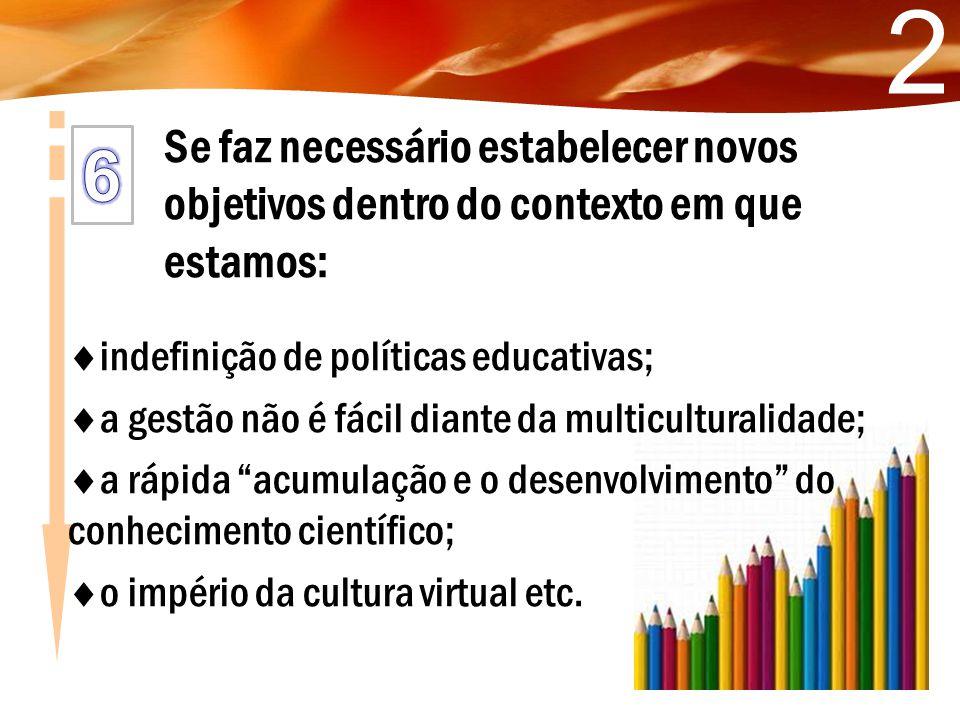 2 Se faz necessário estabelecer novos objetivos dentro do contexto em que estamos: indefinição de políticas educativas;