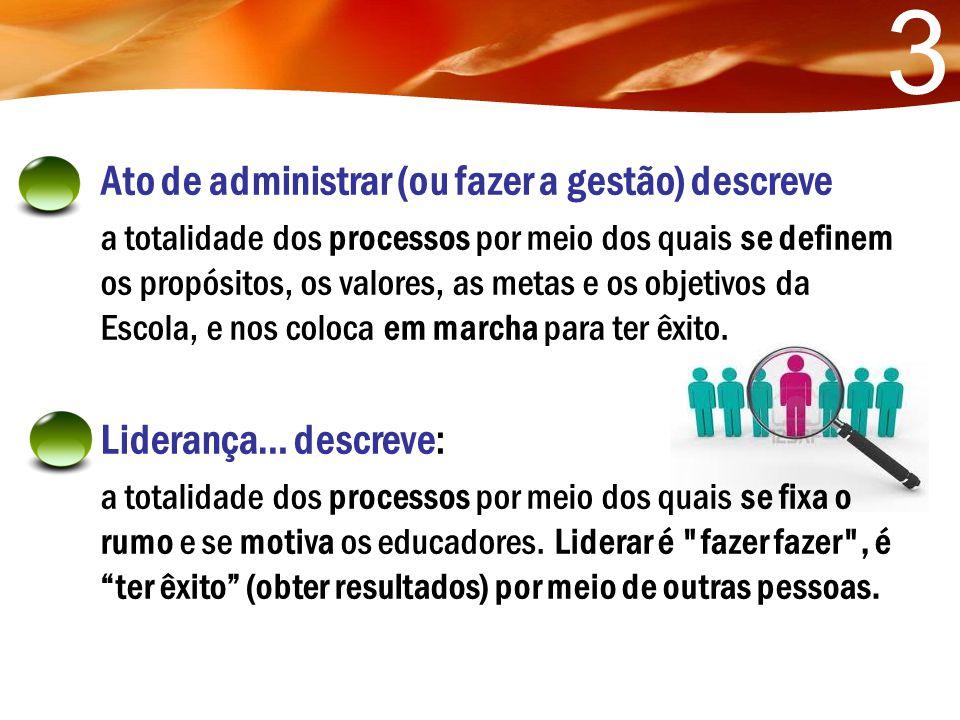 3 Ato de administrar (ou fazer a gestão) descreve Liderança… descreve: