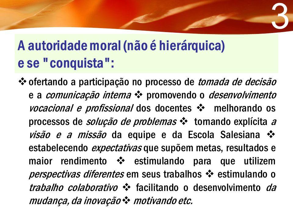 A autoridade moral (não é hierárquica) e se conquista :
